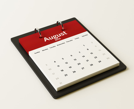 2014 August Calendar isolated on white background photo