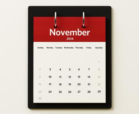 2014 November Calendar isolated on white background Stock Photo