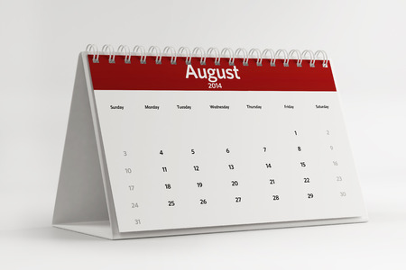 2014 August Calendar isolated on white background