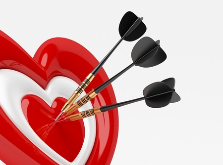 Dart with Heart Icon isolated on white photo