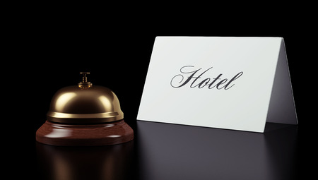 Hotel Bell Sign isolated on black background photo