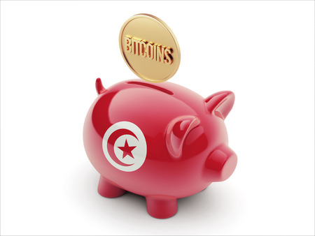 tunisie: Tunisia High Resolution Bitcoin Concept High Resolution Piggy Concept Stock Photo