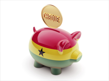 engravings: Ghana High Resolution Cheque Concept High Resolution Piggy Concept Stock Photo