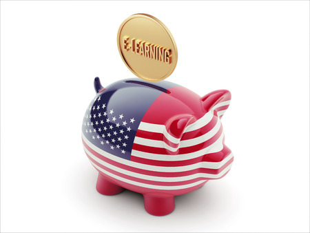 United States High Resolution E-Learning Concept High Resolution Piggy Concept photo