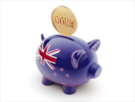 new zealand word: New Zealand High Resolution Income Concept High Resolution Piggy Concept