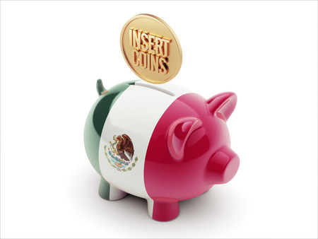 Mexico  High Resolution Insert Coins Concept High Resolution Piggy Concept photo