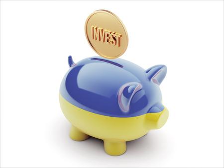 Ukraine High Resolution Invest Concept High Resolution Piggy Concept Stock Photo