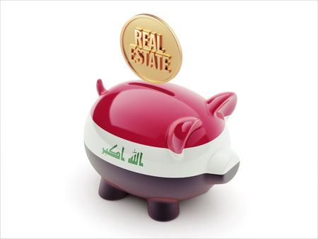 iraq money: Iraq High Resolution Real Estate Concept High Resolution Piggy Concept Stock Photo