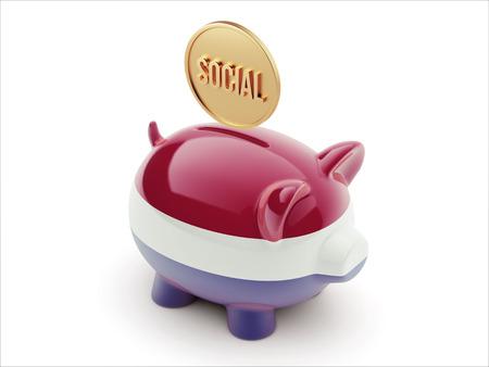 convivial: Netherlands High Resolution Social Concept High Resolution Piggy Concept