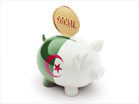 african solidarity: Algeria High Resolution Social Concept High Resolution Piggy Concept
