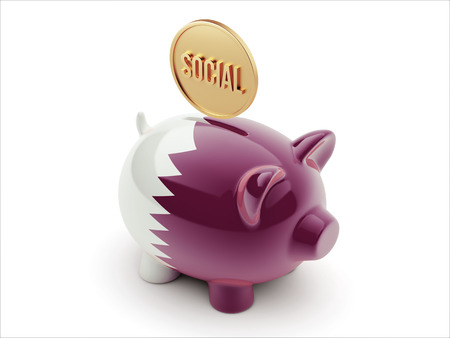 convivial: Qatar High Resolution Social Concept High Resolution Piggy Concept Stock Photo