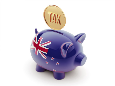 new zealand word: New Zealand High Resolution Tax Concept High Resolution Piggy Concept Stock Photo