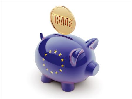trade union: European Union High Resolution Trade Concept High Resolution Piggy Concept