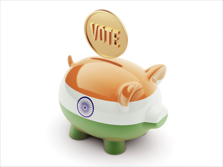 India High Resolution Vote Concept High Resolution Piggy Concept