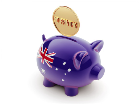 australian money: Australia High Resolution 3d Printing Concept High Resolution Piggy Concept Stock Photo