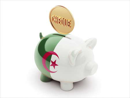 Algeria High Resolution Cheque Concept High Resolution Piggy Concept photo