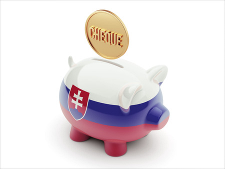 engravings: Slovakia High Resolution Cheque Concept High Resolution Piggy Concept Stock Photo