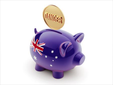 australian money: Australia High Resolution Danger Concept High Resolution Piggy Concept