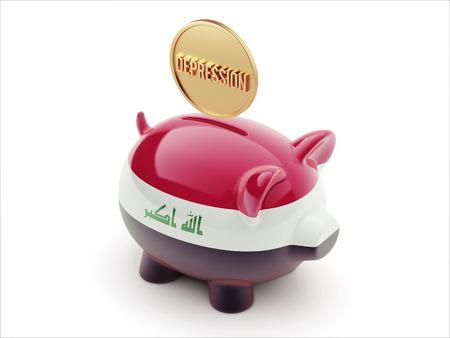 iraq money: Iraq High Resolution Depression Concept High Resolution Piggy Concept