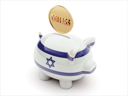 Israel High Resolution Dollars Concept High Resolution Piggy Concept photo