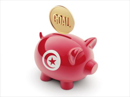 tunisie: Tunisia High Resolution Goal Concept High Resolution Piggy Concept Stock Photo