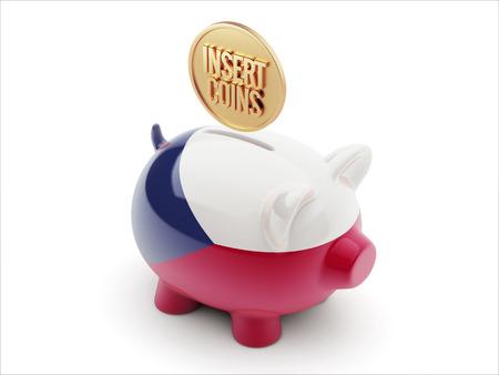 czech republic coin: Czech Republic High Resolution Insert Coins Concept High Resolution Piggy Concept Stock Photo