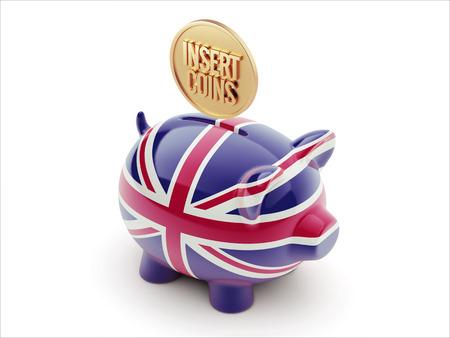 United Kingdom High Resolution Insert Coins Concept High Resolution Piggy Concept photo