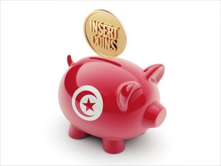 tunisie: Tunisia High Resolution Insert Coins Concept High Resolution Piggy Concept Stock Photo