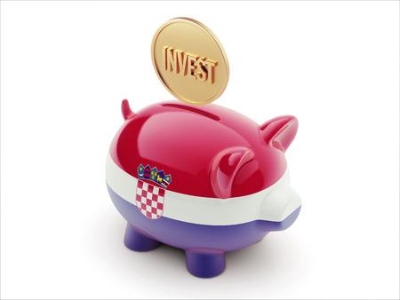 strategist: Croatia  High Resolution Invest Concept High Resolution Piggy Concept Stock Photo