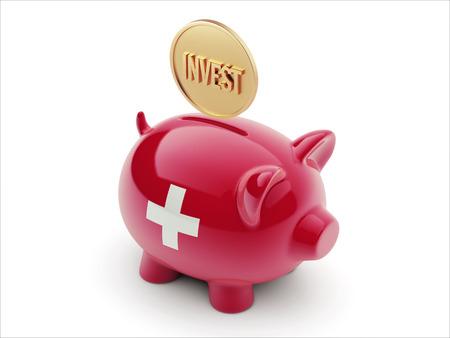 strategist: Switzerland High Resolution Invest Concept High Resolution Piggy Concept Stock Photo