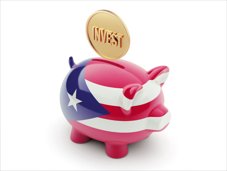 financial advisors: Puerto Rico High Resolution Invest Concept High Resolution Piggy Concept Stock Photo