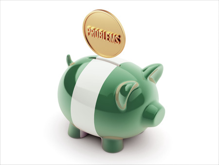 inaccurate: Nigeria  High Resolution Problems Concept High Resolution Piggy Concept Stock Photo
