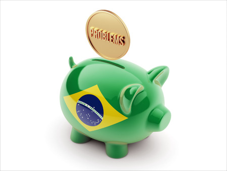 inaccurate: Brazil High Resolution Problems Concept High Resolution Piggy Concept Stock Photo