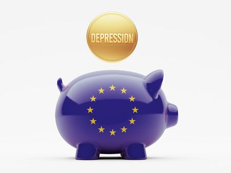 collapsing: European Union High Resolution Depression Concept Stock Photo