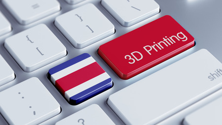 costa rican flag: Costa Rica  High Resolution 3d Printing Concept