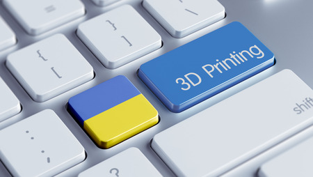 three dimensions: Ukraine High Resolution 3d Printing Concept Stock Photo