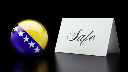safely: Bosnia and Herzegovina  High Resolution Safe Concept Stock Photo