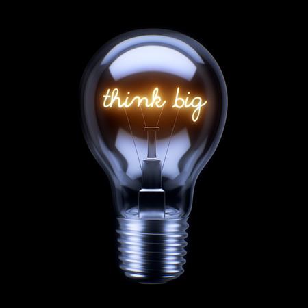 big: Concepto de la bombilla aislado sobre fondo negro