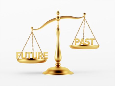 scale of justice: Future and Past Justice Scale Concept isolated on white background
