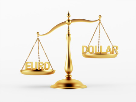 scale of justice: Euro and Dollar Justice Scale Concept isolated on white background