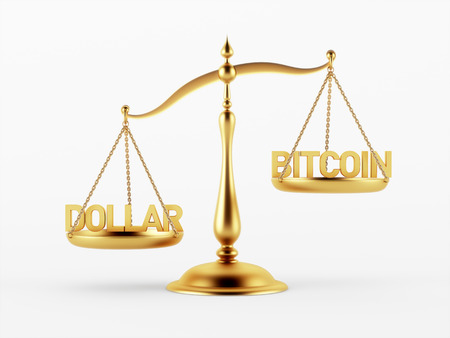 scale of justice: Dollar and Bitcoin Justice Scale Concept isolated on white background