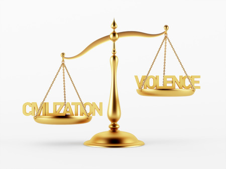 Civilization and Violence Justice Scale Concept isolated on white background