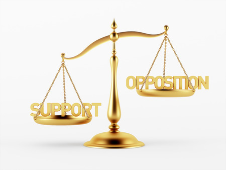 opposition: Support and Opposition Justice Scale Concept isolated on white background Stock Photo