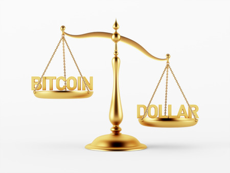 scale of justice: Bitcoin and Dollar Justice Scale Concept isolated on white background
