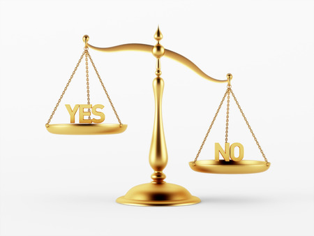 Yes and No Justice Scale Concept isolated on white background