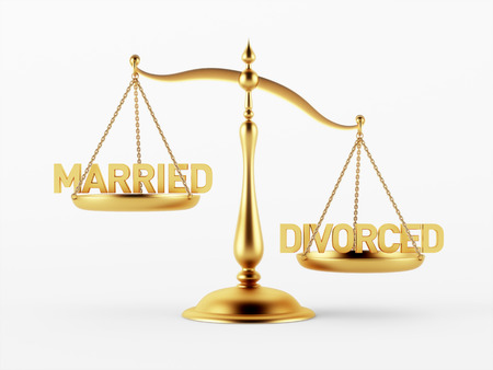 scale of justice: Married and Divorced Justice Scale Concept isolated on white background