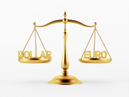 scale of justice: Dollar and Euro Justice Scale Concept isolated on white background