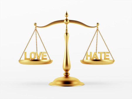 justice scale: Love and Hate Justice Scale Concept isolated on white background