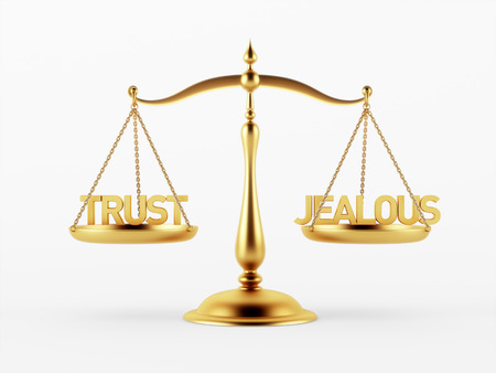 justice scale: Trust and Jealous Justice Scale Concept isolated on white background Stock Photo