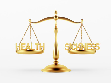 scale of justice: Health and Sickness Justice Scale Concept isolated on white background
